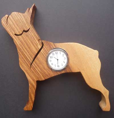 Shaped Boston terrier Clock